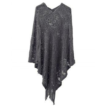 Hollow Out Fringe Irregular Pullover Shawl Sweater