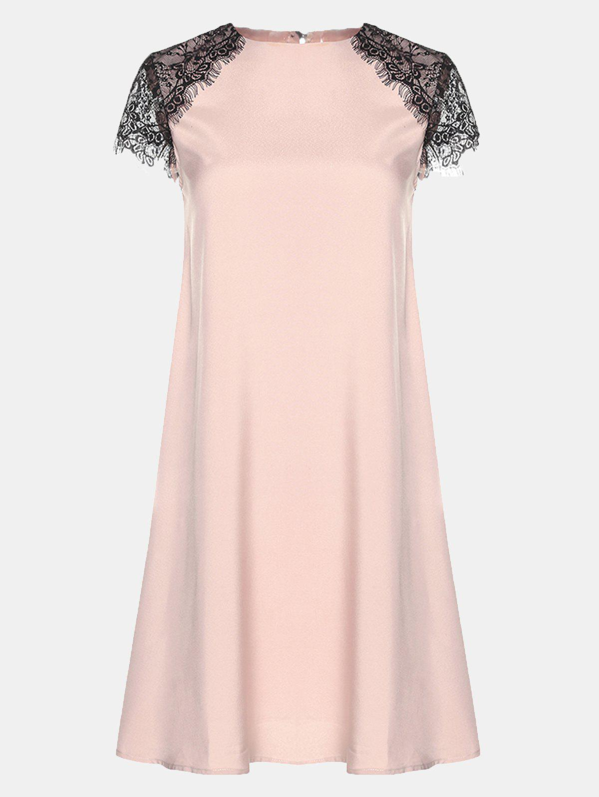 Round Collar Lace Short Sleeve Loose A-line Dress - BARE PINK M