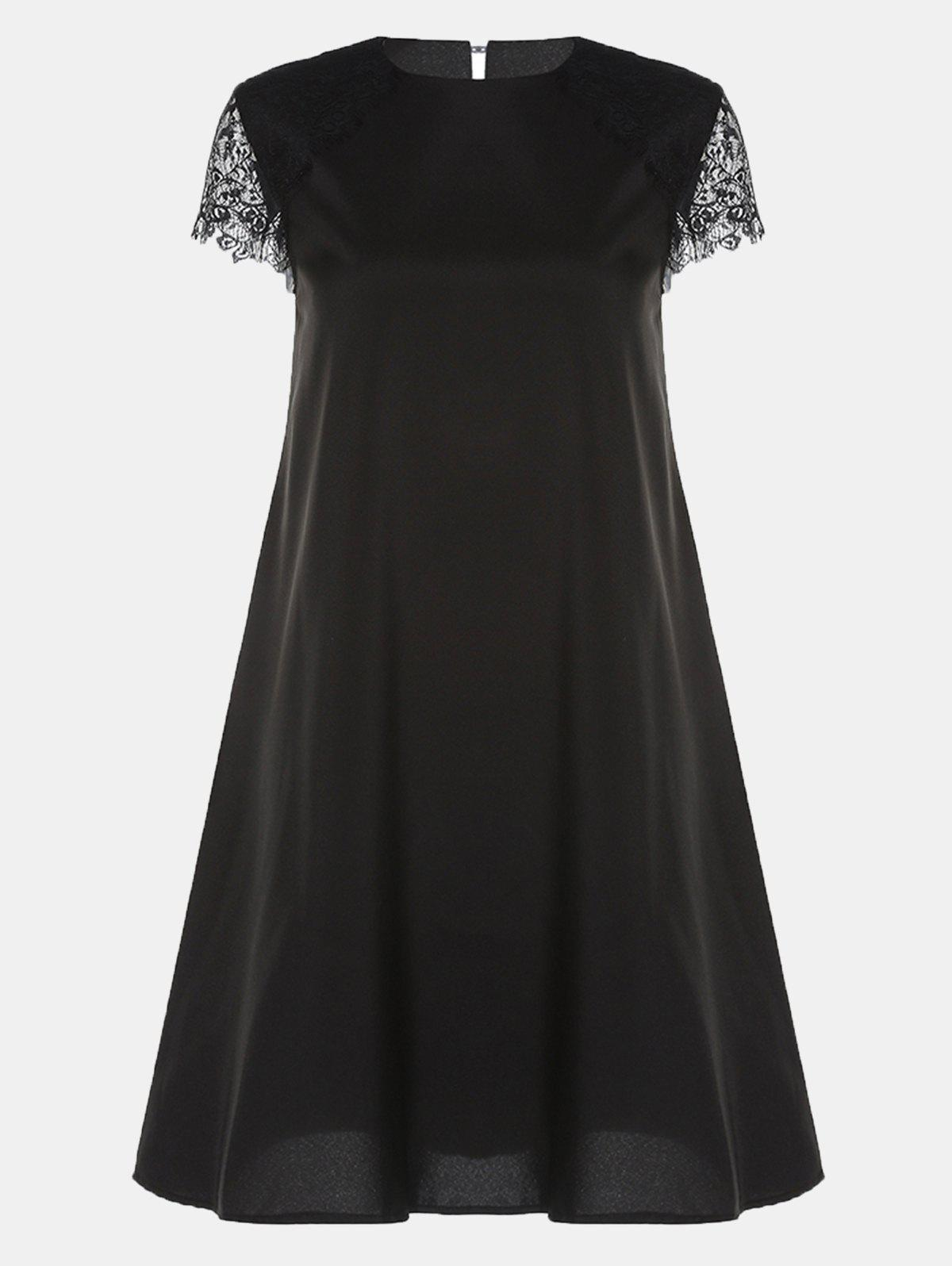 Round Collar Lace Short Sleeve Loose A-line Dress - BLACK M