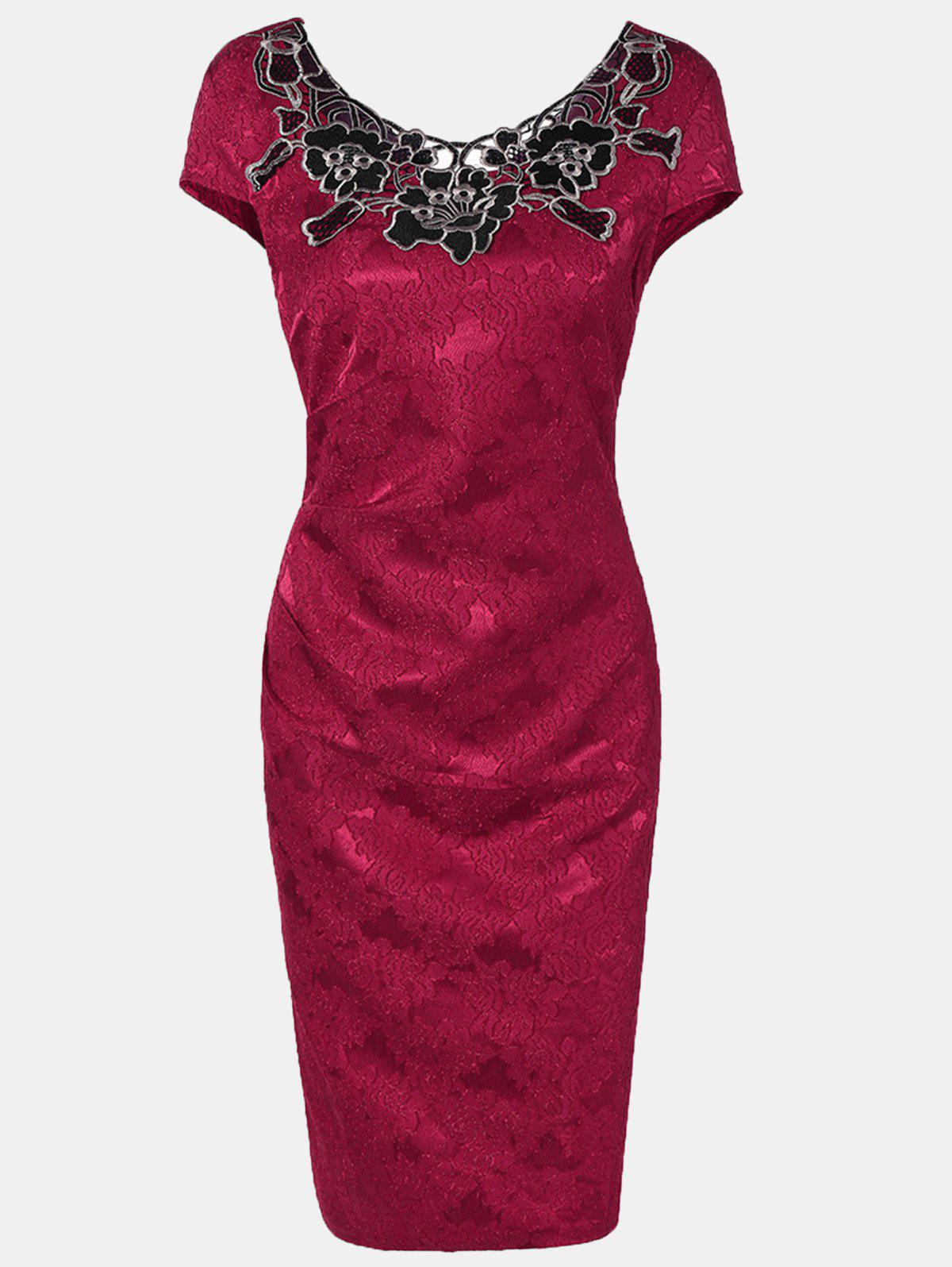 Women Floral Embroidered Short Sleeve Pencil Dress - RED 3XL