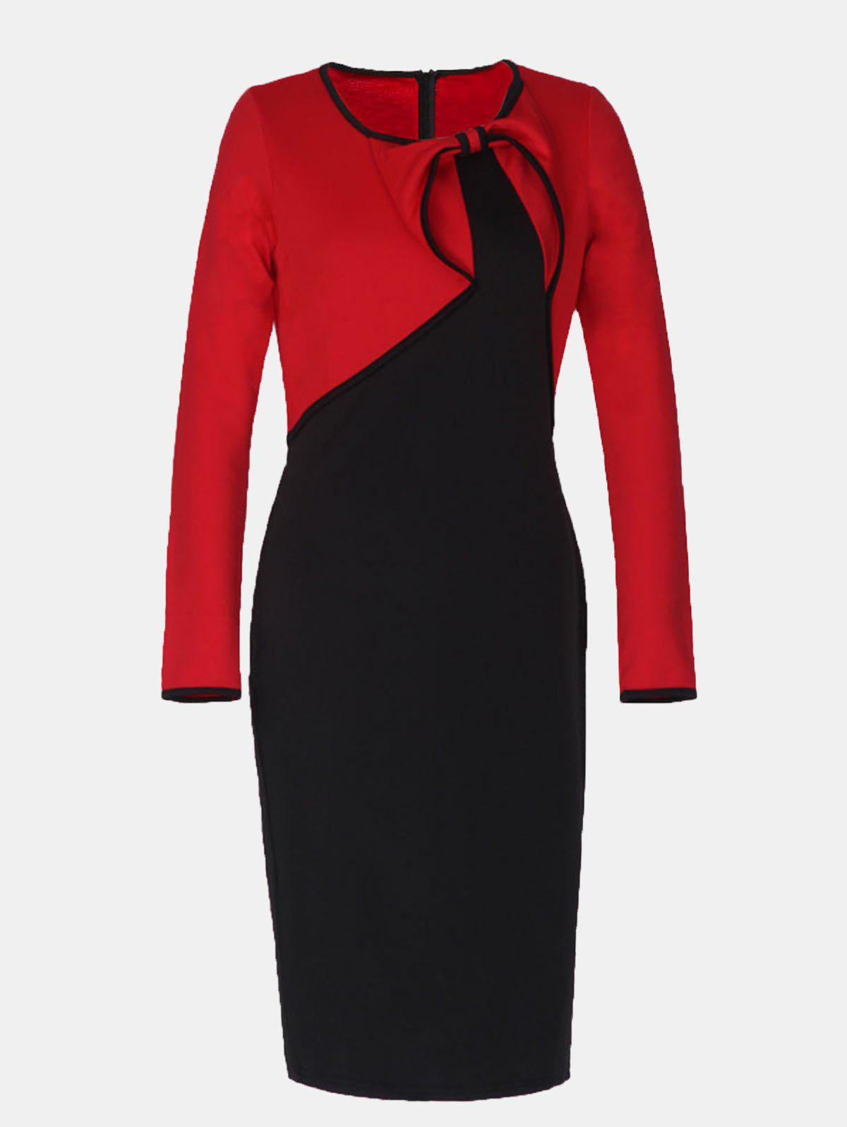 Vintage Fake Two Piece Round Collar Long Sleeve Pencil Dress - RED XL