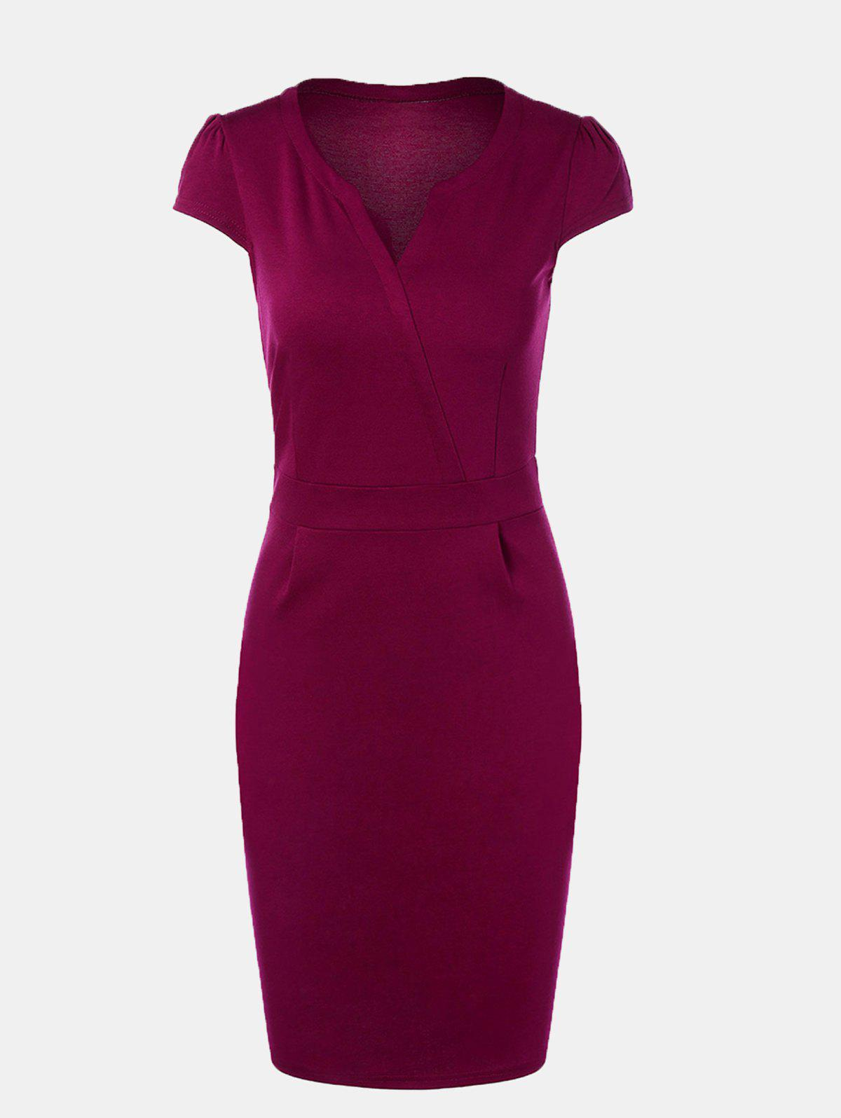 V Neck Wrap Shoulder Sleeve Slim Pencil Dress - PURPLE L
