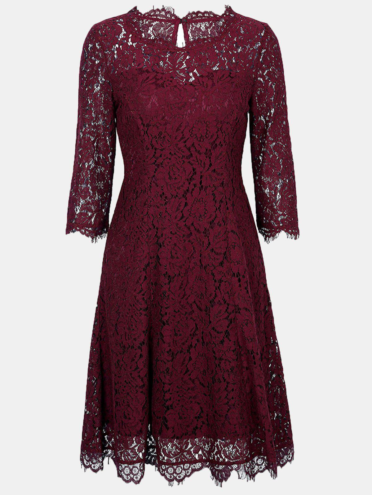 Lace Round Collar 3/4 sleeves A-line Dress - BURGUNDY M