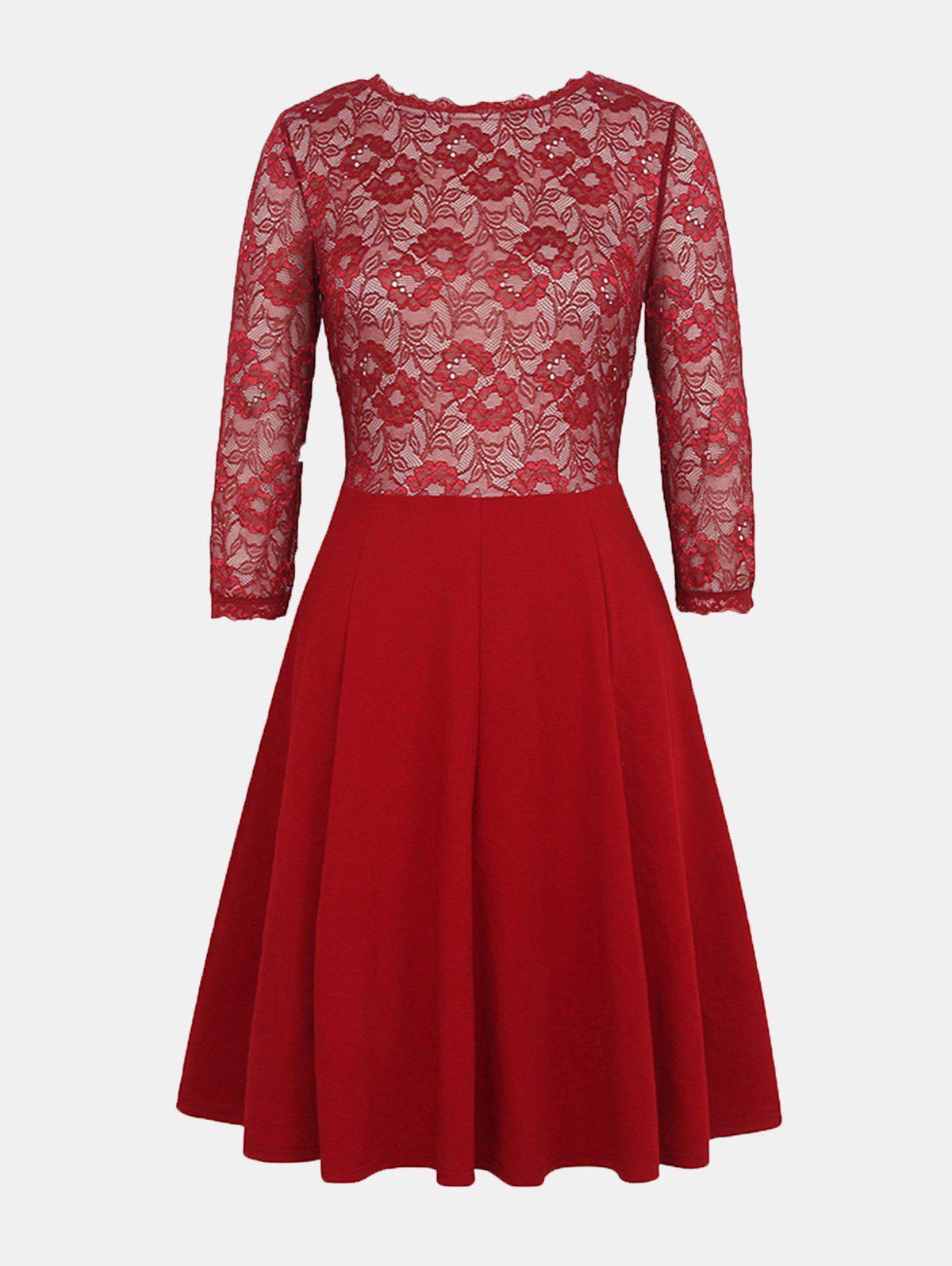 Lace Patchwork Round Collar 7 Point Sleeve A-line Dress - LAVA RED 4XL