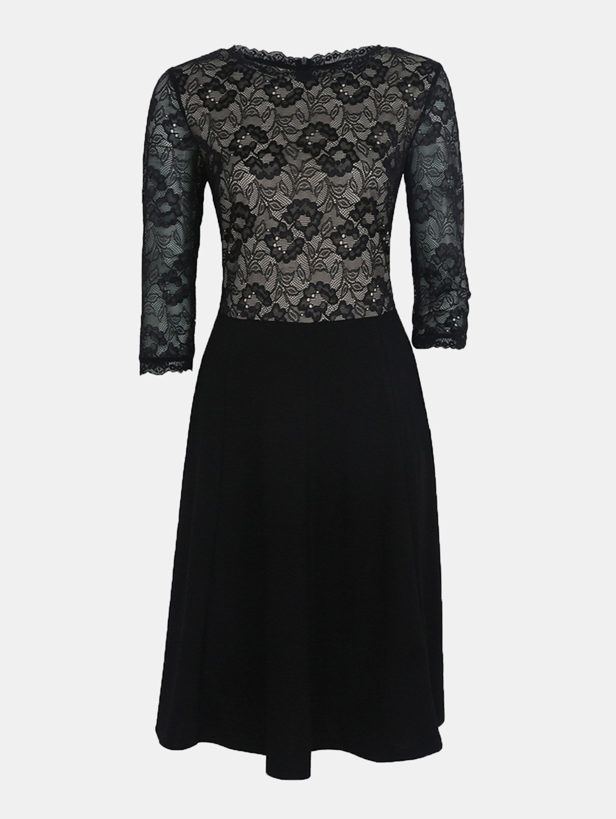 Lace Patchwork Round Collar 7 Point Sleeve A-line Dress - BLACK 2XL