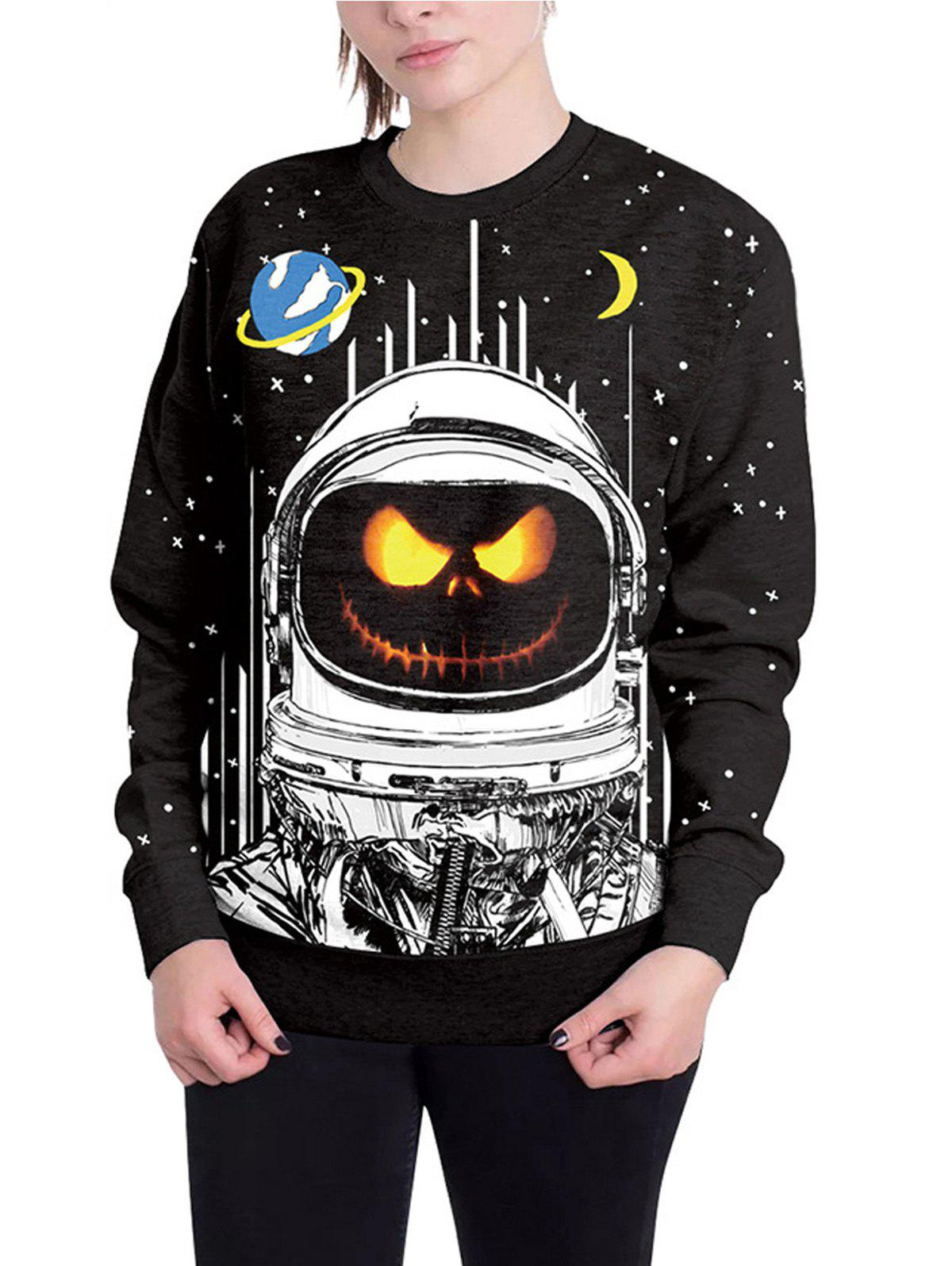 Halloween Unisex Casual 3D Patterns Print Athletic Sweaters - BLACK M