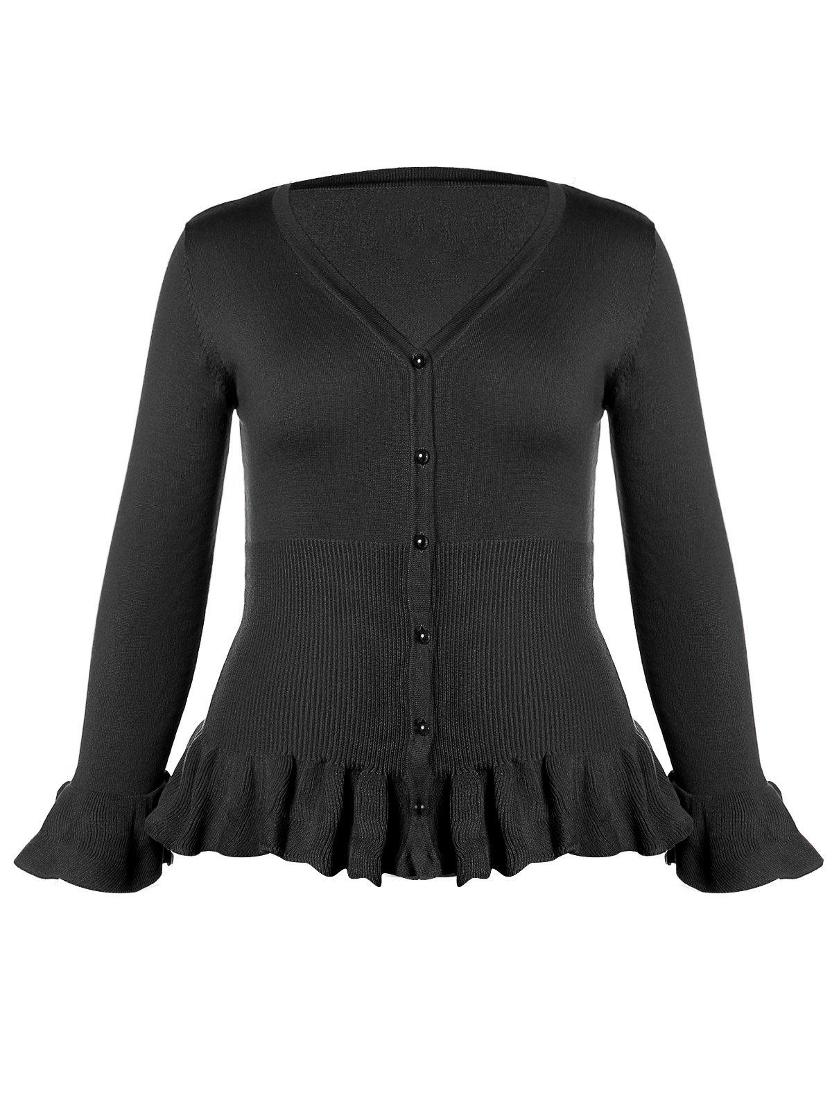 Plus Size Ruffled Button Knit Cardigan - BLACK 3XL