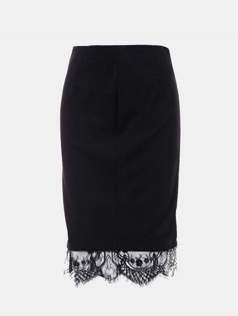 Lace Edged Knee Length Pencil Skirt - BLACK M