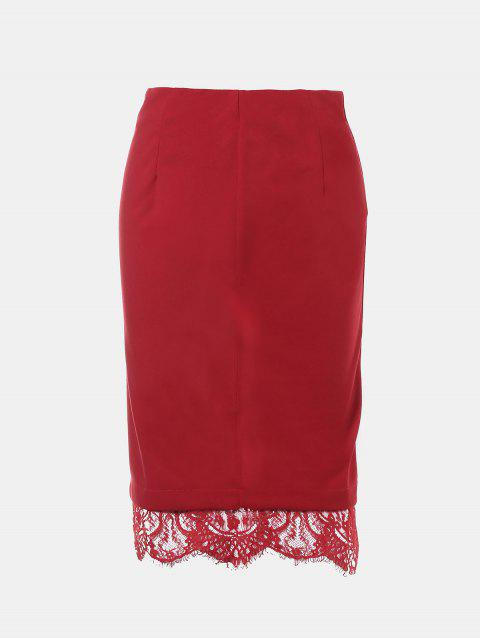 Lace Edged Knee Length Pencil Skirt - RED S