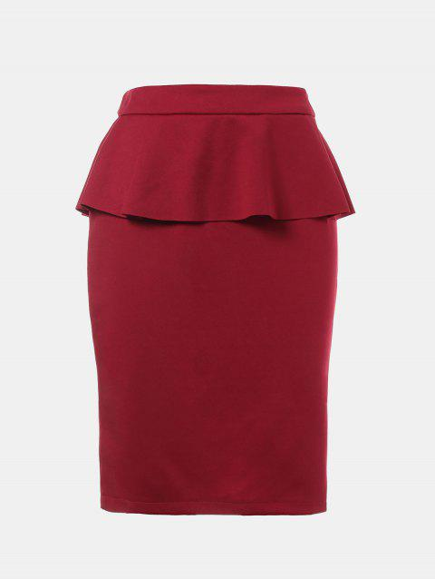 Ruffled Edge Knee Length Pencil Skirt - RED WINE 2XL