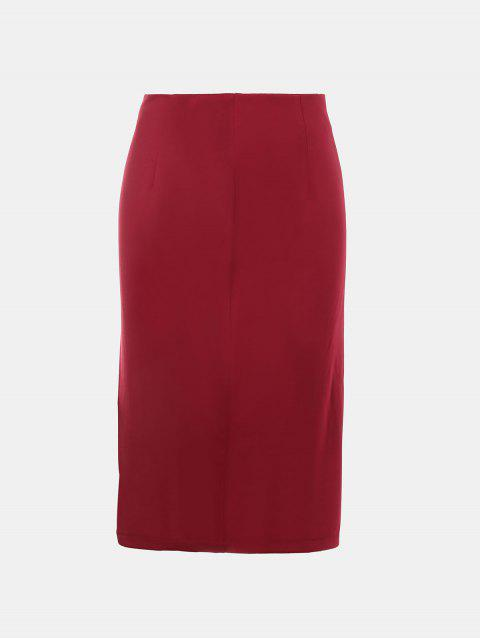 Front Fork Slim and Knee-Leng Pnecil Skirt - RED WINE L
