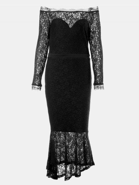 One Word Collar Long Sleeve Slim Fish Tail Lace Dress - BLACK S