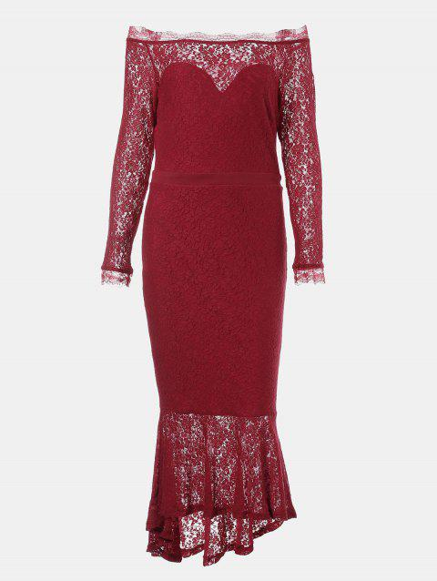 One Word Collar Long Sleeve Slim Fish Tail Lace Dress - RED S