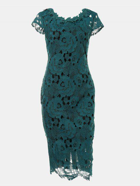 Hollow Lace Short Sleeves Slim Dress - DEEP GREEN S