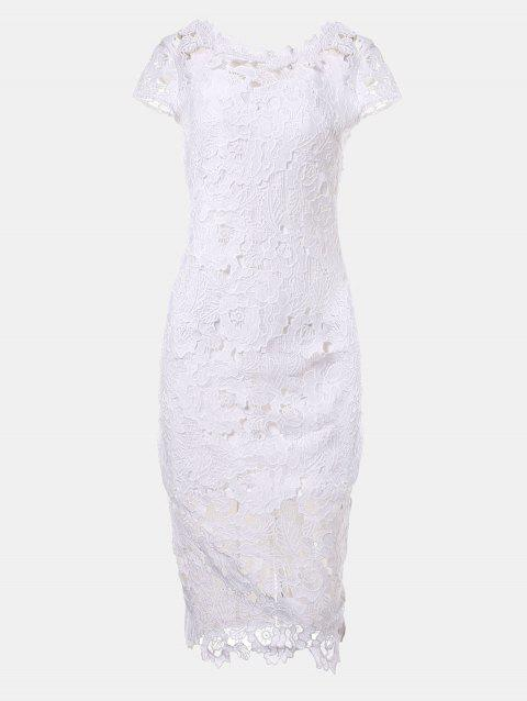 Hollow Lace Short Sleeves Slim Dress - WHITE M