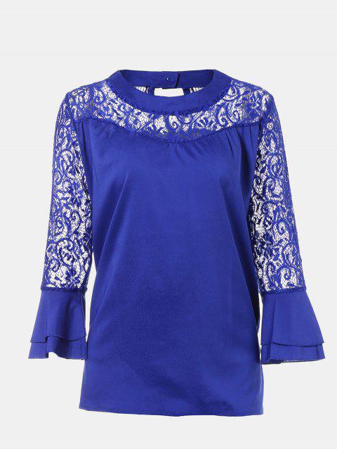 Women's Casual Lace Patchwork Chiffon  Tops - BLUE M