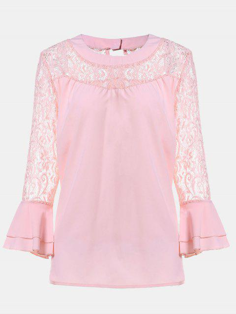 Women's Casual Lace Patchwork Chiffon  Tops - ORANGE PINK S