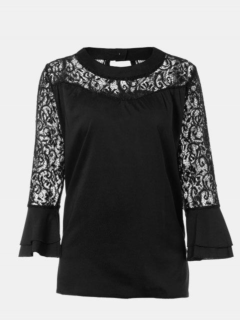Women's Casual Lace Patchwork Chiffon  Tops - BLACK M