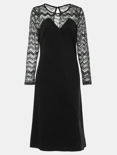 Round Collar Long Sleeve Lace Patchwork A-line Midi Dress - BLACK L