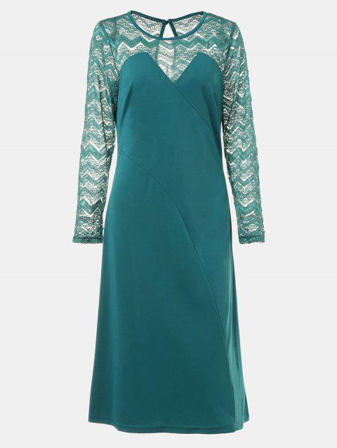 Round Collar Long Sleeve Lace Patchwork A-line Midi Dress - MARINE GREEN L