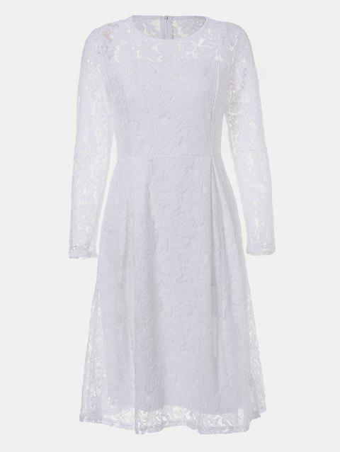 Round Neck Long Sleeve A-line Lace Dress - WHITE L