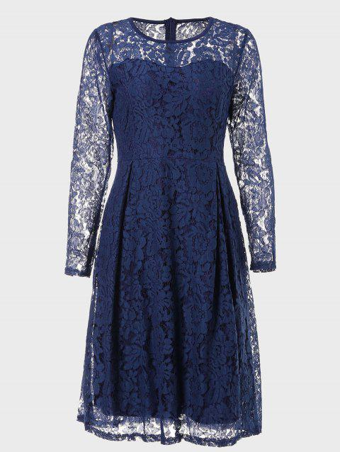 Round Neck Long Sleeve A-line Lace Dress - CERULEAN S