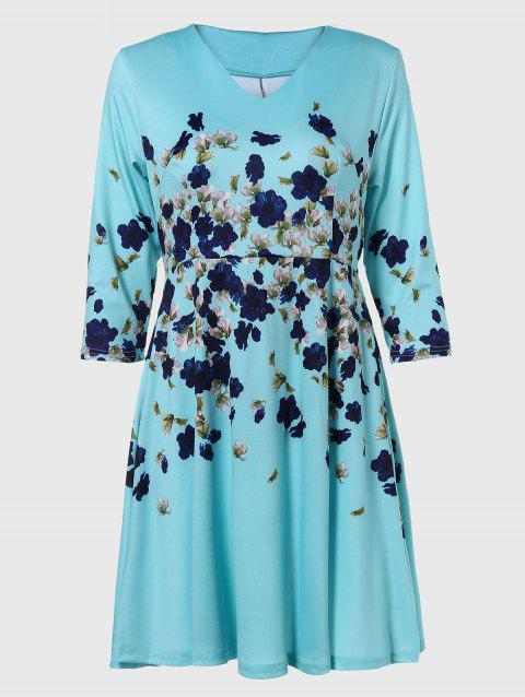 V-neck Positioning Flowers Print With3/4 sleeves A-line Dress - GREEN XL