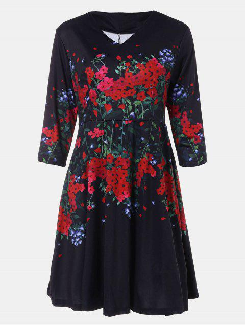 V-neck Positioning Flowers Print With3/4 sleeves A-line Dress - BLACK L