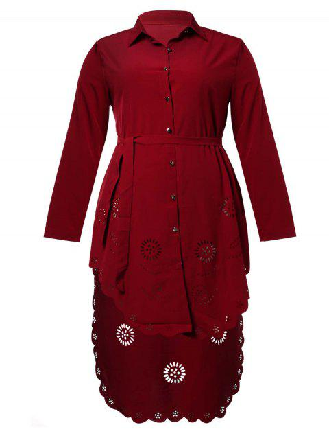 Moslem Plus Size Flower Hollowed Shirt Dress - RED WINE 5XL