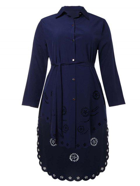 Moslem Plus Size Flower Hollowed Shirt Dress - DEEP BLUE 4XL