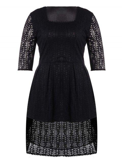Plus Size Asymmetry Hem Lace Dress - BLACK 5XL