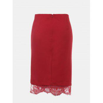 Lace Edged Knee Length Pencil Skirt - RED L