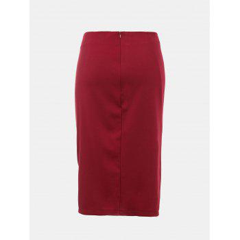 Front Fork Slim and Knee-Leng Pnecil Skirt - RED WINE M