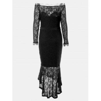 One Word Collar Long Sleeve Slim Fish Tail Lace Dress - BLACK M
