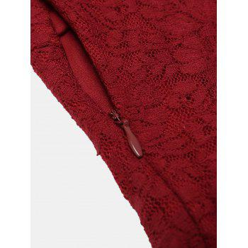 One Word Collar Long Sleeve Slim Fish Tail Lace Dress - RED M
