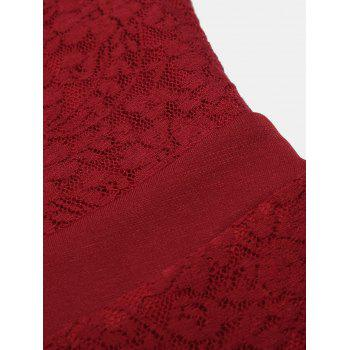 One Word Collar Long Sleeve Slim Fish Tail Lace Dress - RED 2XL