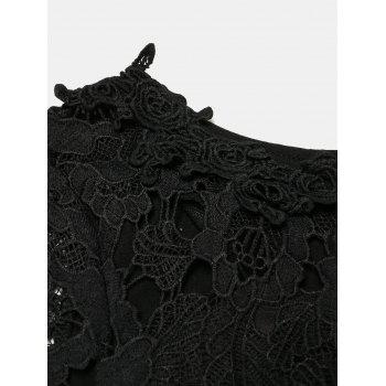 Hollow Lace Short Sleeves Slim Dress - BLACK S