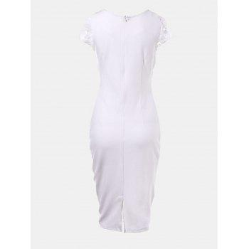 Hollow Lace Short Sleeves Slim Dress - WHITE L