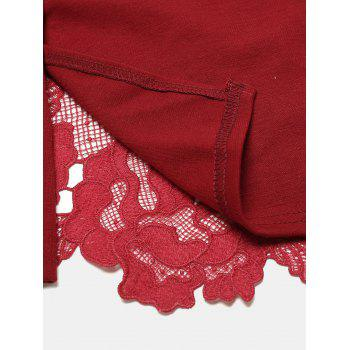 Hollow Lace Short Sleeves Slim Dress - DEEP RED XL