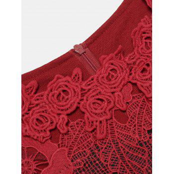 Hollow Lace Short Sleeves Slim Dress - DEEP RED M