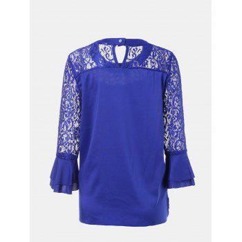 Women's Casual Lace Patchwork Chiffon  Tops - BLUE S