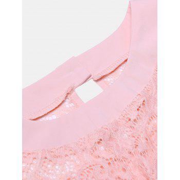 Women's Casual Lace Patchwork Chiffon  Tops - ORANGE PINK XL