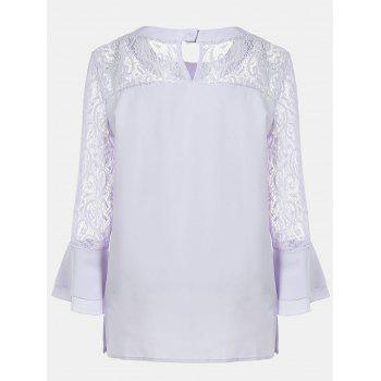 Women's Casual Lace Patchwork Chiffon  Tops - WHITE L