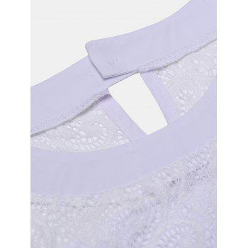 Women's Casual Lace Patchwork Chiffon  Tops - WHITE M