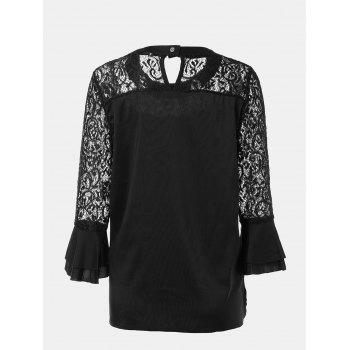 Women's Casual Lace Patchwork Chiffon  Tops - BLACK XL