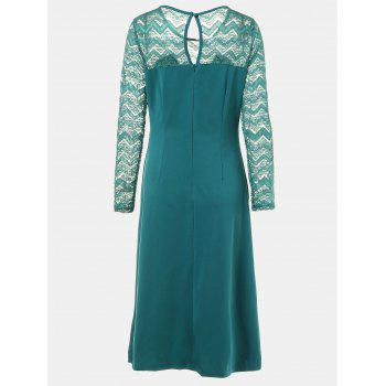 Round Collar Long Sleeve Lace Patchwork A-line Midi Dress - MARINE GREEN S