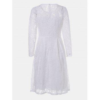Round Neck Long Sleeve A-line Lace Dress - WHITE M