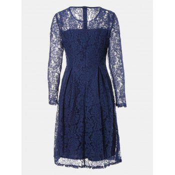 Round Neck Long Sleeve A-line Lace Dress - CERULEAN M