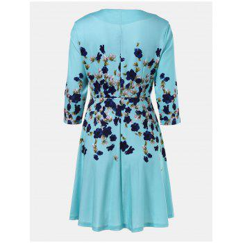 V-neck Positioning Flowers Print With3/4 sleeves A-line Dress - GREEN M