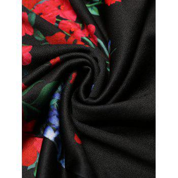 V-neck Positioning Flowers Print With3/4 sleeves A-line Dress - BLACK 2XL